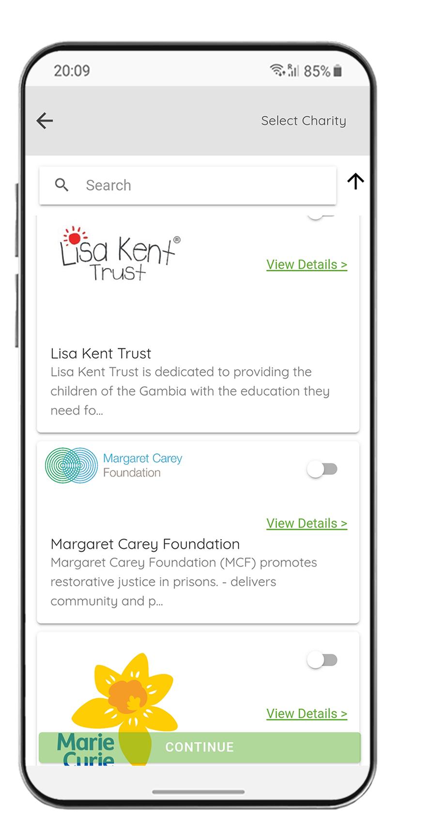 Select a charity screen